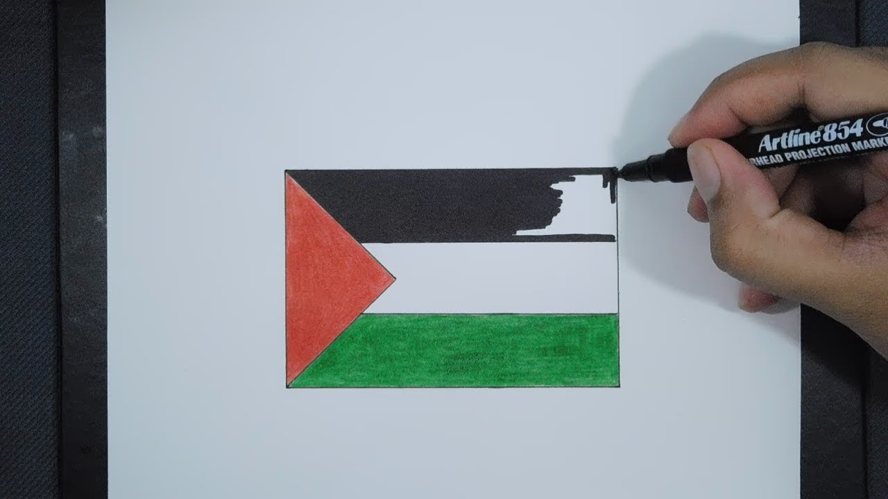 How To Draw Palestine Flag Cara Menggambar Bendera Palestina