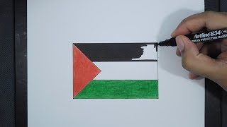 How To Draw Palestine Flag / Cara Menggambar Bendera Palestina