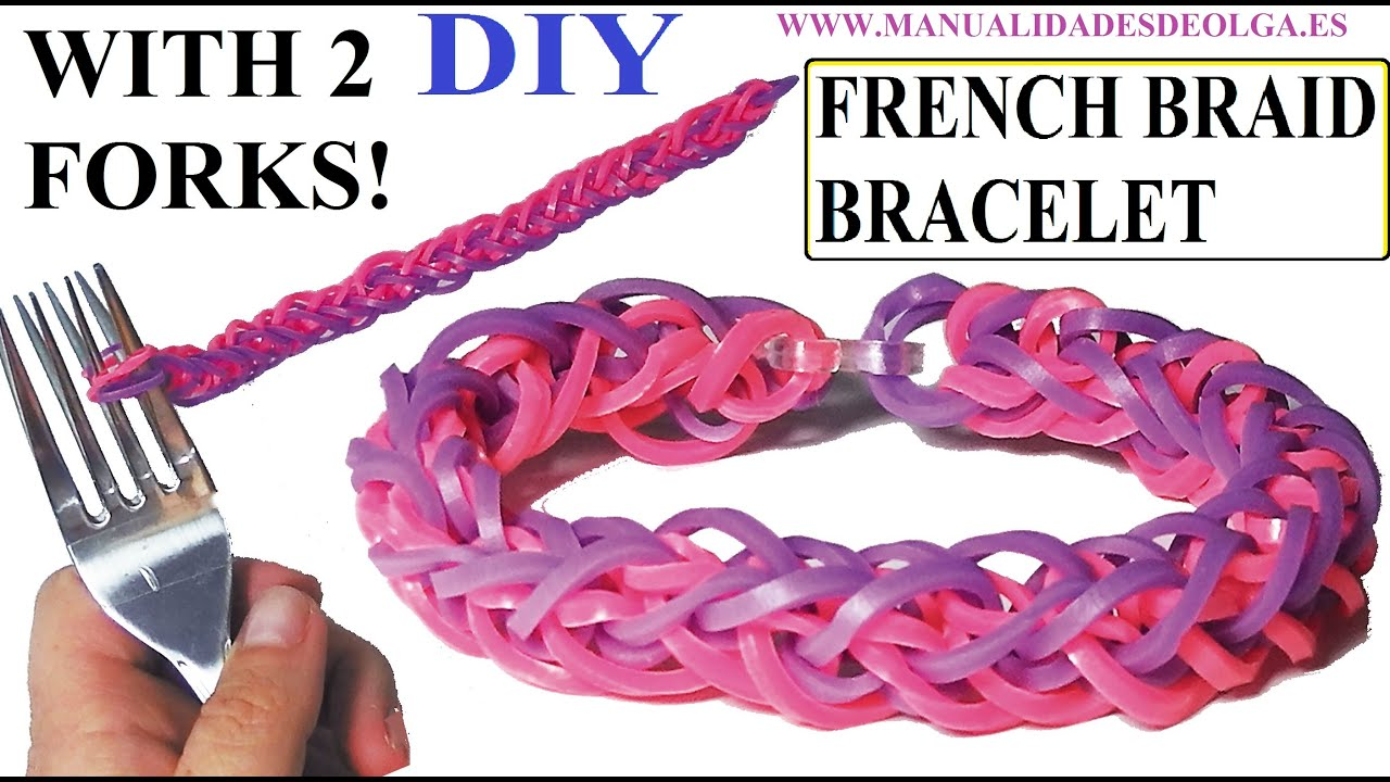 How To French Braid Bracelet With 2 Forks Without Rainbow Loom  Youtube