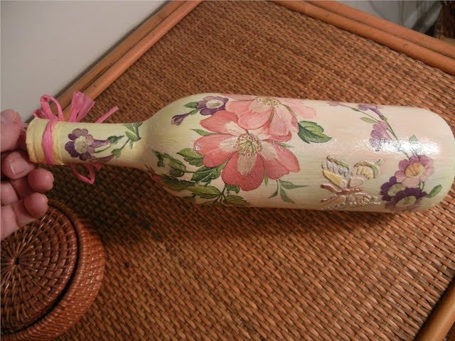 How To Decoupage And Ornament Glass Bottle - Upcyc...