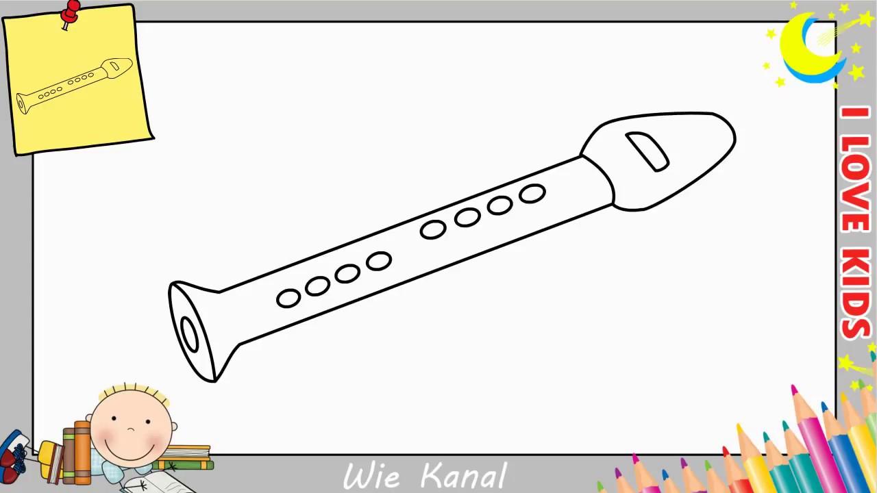 Flöte zeichnen schritt für schritt für anfänger & kinder 6