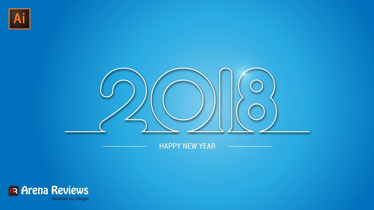 wallpaper of happy new year 2018 with blue background design illustrator tutorial
