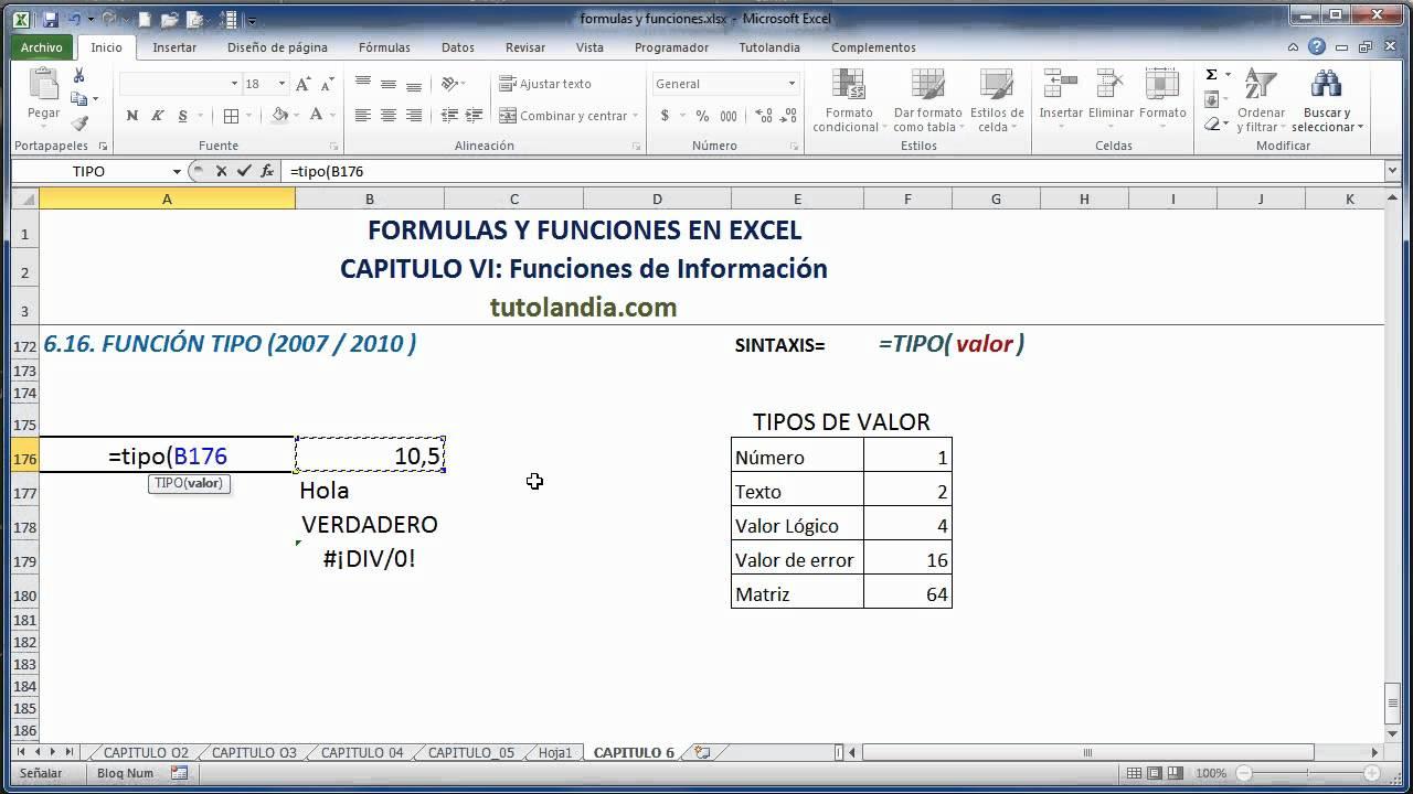 20.120 Función Tipo Fórmulas y Funciones en Excel