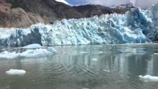 huge glacier calving and tsunami