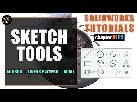 SKETCH TOOLS ( Mirror, Linear Pattern, Move Entities )   SOLIDWORKS TUTORIALS   Ch01 P3 thumbnail
