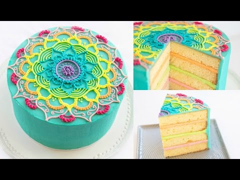 rainbow-mandala-buttercream-cake-decorating-tutorial---cake-style