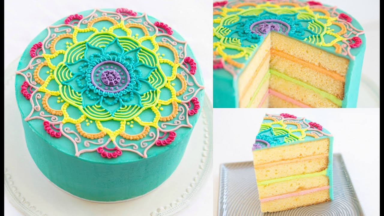 Rainbow Mandala Buttercream Cake Decorating Tutorial