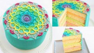 Rainbow Mandala Buttercream Cake - Cake Style