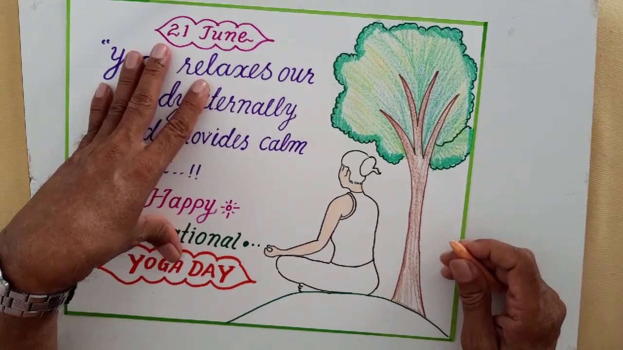 International Yoga Day Slogan Drawing Calligraphy International Yoga Day Poster Calligraphy Youtube