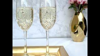 КАК ПРОСТО И КРАСИВО ДЕКОРИРОВАТЬ БОКАЛЫ/As a simple and beautifully decorated glasses