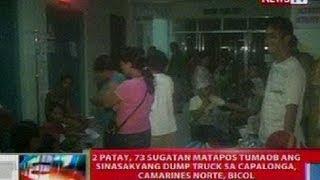 NTL: 2 patay, 73 sugatan nang tumaob ang sinasakyang dump truck sa  Bicol