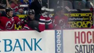 Cam Janssen misses hit and goes over board - 12/20/2011