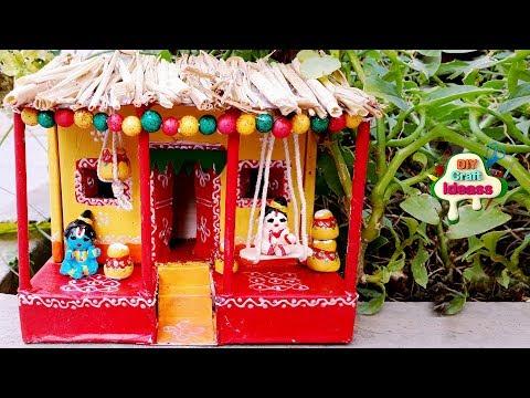 cute craft krishna balaram diy  ❤️❤️❤️  cute krishna craft   village House   Diy craft ideas