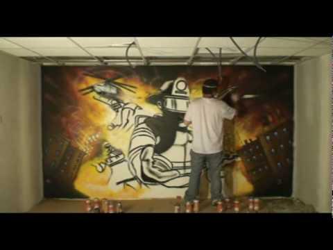 Fresque Murale Pompier - YouTube