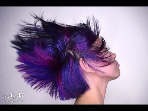 Black hair with Blue, Magenta and Burgundy under layers [HD]