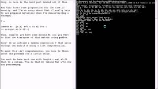 Python List Comprehensions and Lambda Expressions (Hard) Matrix Transpose