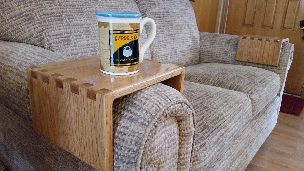 sofa armrest drink holder warehouses liverpool diy  using simple box joints youtube