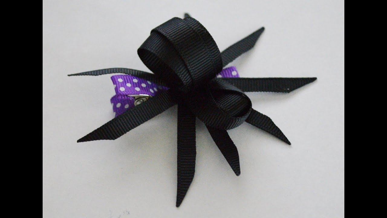 1 Creepy Spider Ribbon Sculpture Halloween Holiday Hair