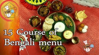 15 course of Bengali menu with making process, it
