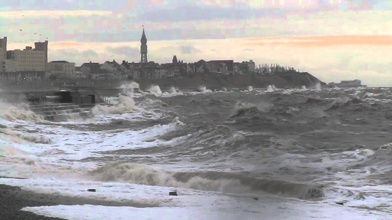 rough december sea at blackpool