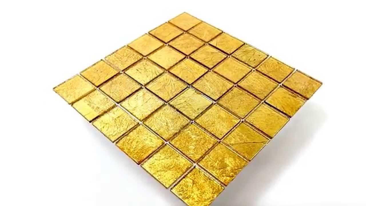 Bad Bordüre Glasmosaik Effekt Fliese Gold Xxmm YouTube - Fliesen bordüre bauhaus