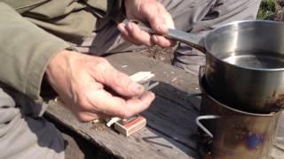 Kuchenka z metalowego kubka na paliwa stałe / Self made camp stove made of metal cup