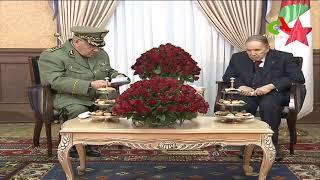فيديو لحظة استقبال بوتفليقة للفريق قايد صالح