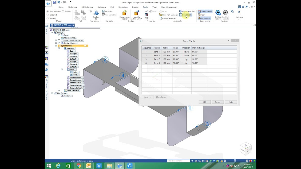 Solid Edge Draft View Wizard Bend Table Part List Youtube