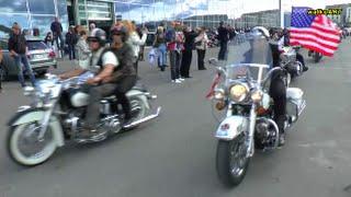 """Bikerhochzeit - Harley Davidson Biker wedding convoy - Motorrad Konvoi  """"Motorworld"""" Böblingen"""