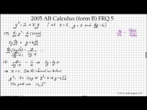 2005 AB Calculus Form B FRQ 5 YouTube