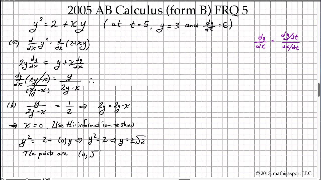 2005 ab calculus form b frq 5 youtube 2005 ab calculus form b frq 5 falaconquin
