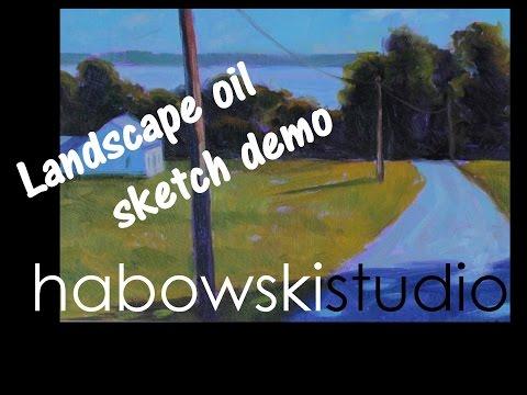 Landscape oil sketch demo