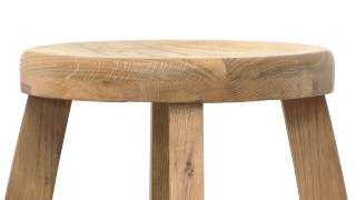 Bali Round Top Solid Amerian Rustic Oak Bar Stool