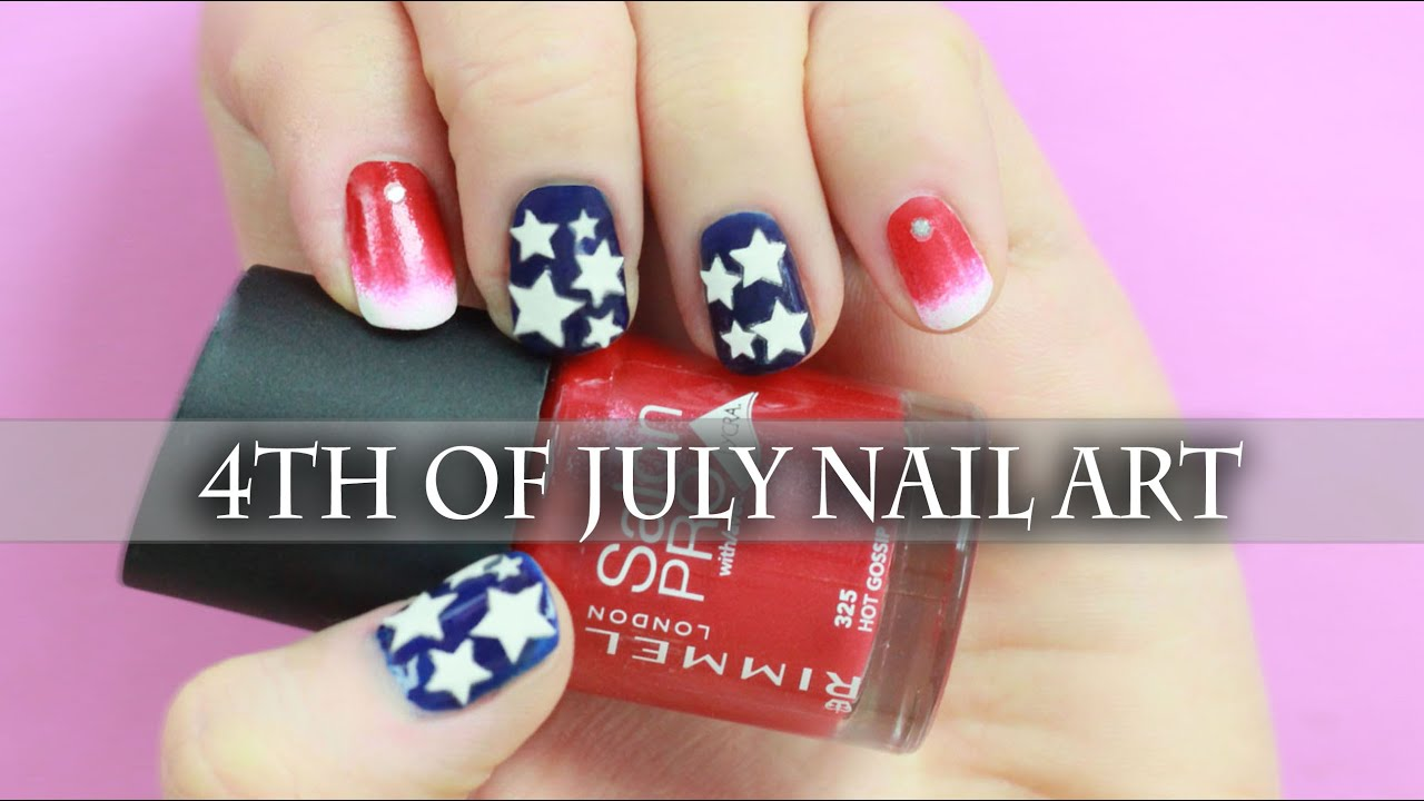 4th of July Nail Art tutorial ! Easy Summer Nails with stickers ...