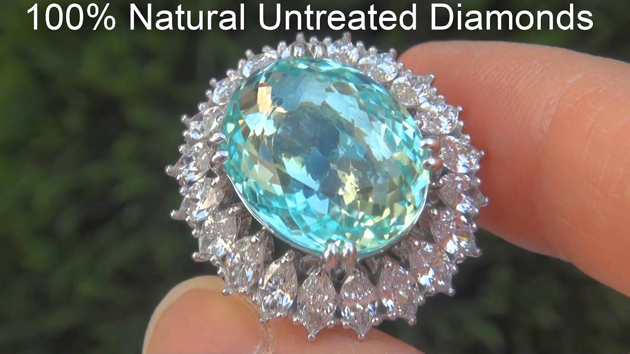 Natural Paraiba Tourmaline & Diamond Ring A141620