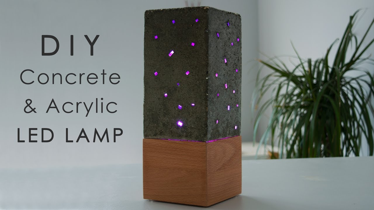 DIY Concrete and Acrylic LED Lamp with a Wooden Base - YouTube on diy small lamp, diy metal lamp, diy mini lamp, diy floor lamp, diy tool lamp, diy clear lamp, diy led lamp, diy lava lamp, diy industrial lamp, diy plastic lamp,