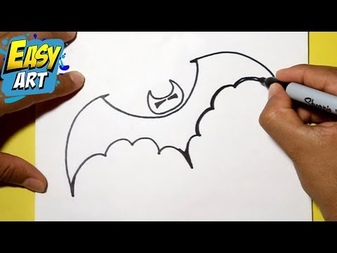 Como dibujar murcielago halloween how to draw a for Comedor facil de dibujar