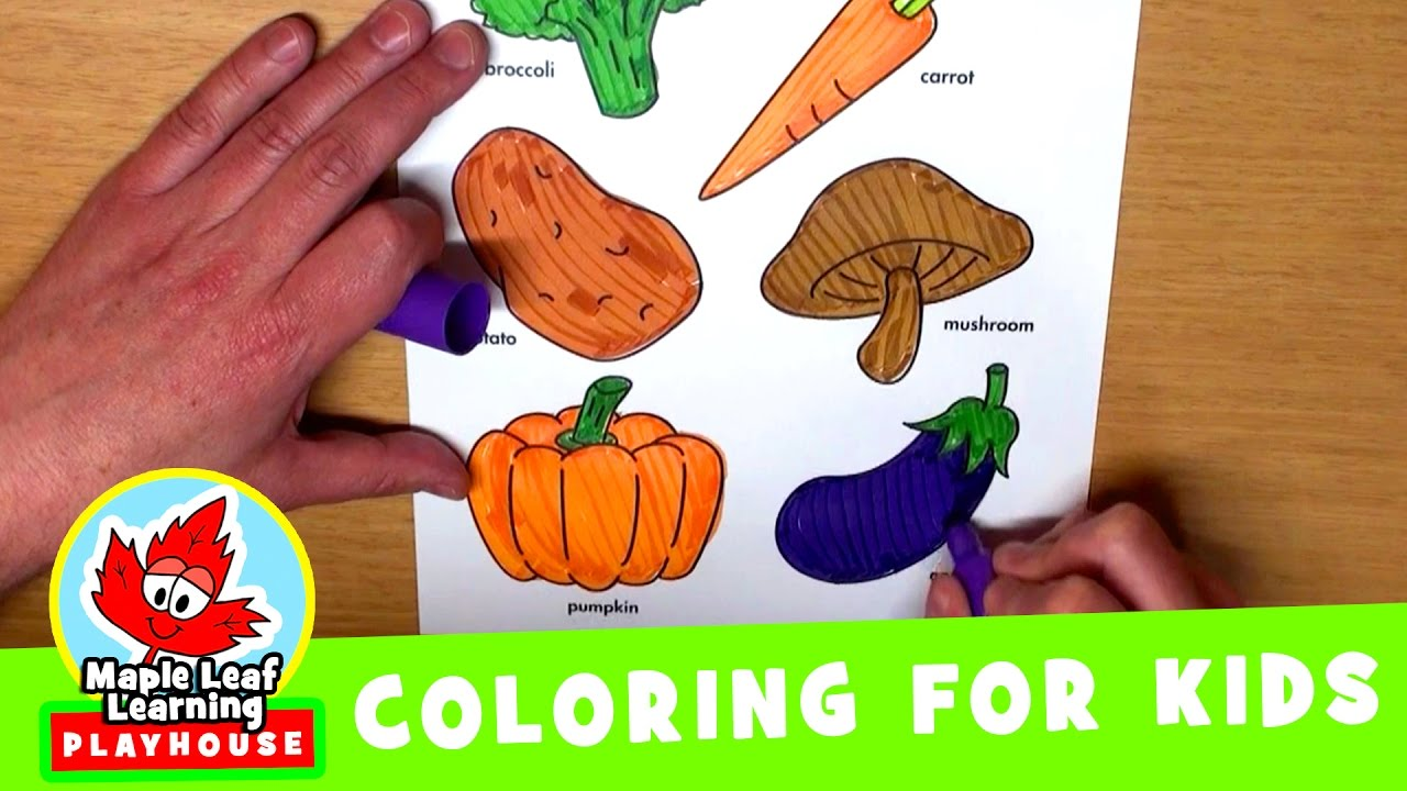 vegetables coloring page for kids maple leaf learning playhouse