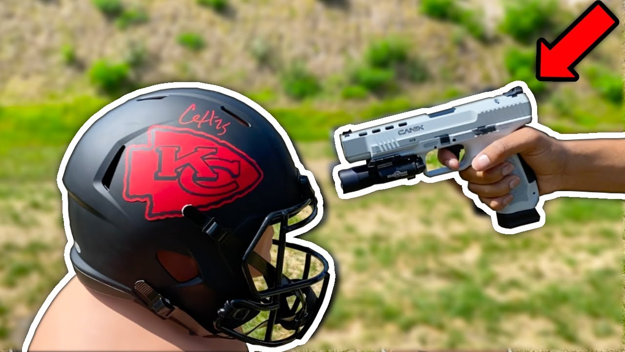 GUN vs NFL HELMET!!! (Insane)