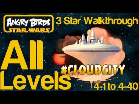 Angry Birds Star Wars Cloud City All Levels 4-1 to 4-40 3 Star Walkthrough and Hidden Droid Bonus