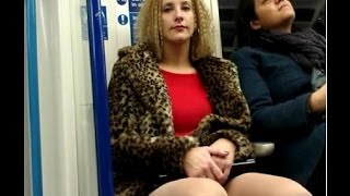 Girls check out guys crotch bulge on train2
