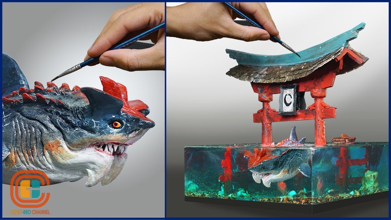How To Make a Devil Shark and Torii Gate Diorama / Thalassophobia / Polymer Clay / Epoxy Resin