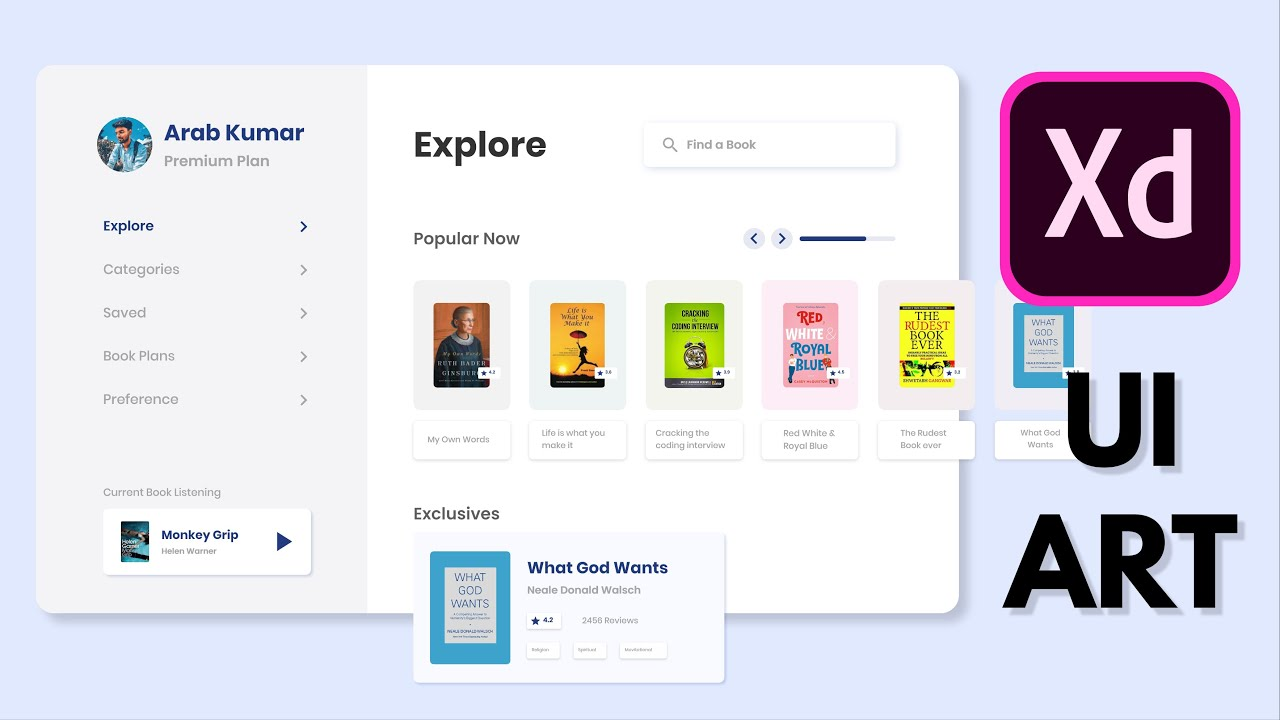 Online Book Store Web App UI Design in Adobe XD | SpeedArt | Simple | Clean | UI