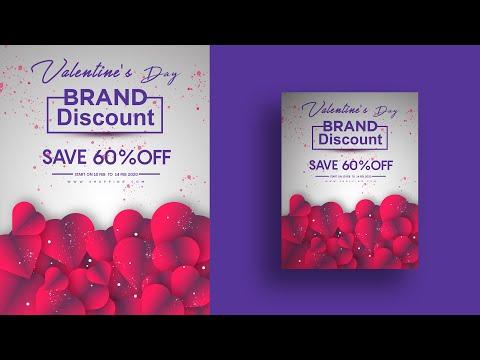 Valentines day flyer design in Adobe Photoshop cc 2020