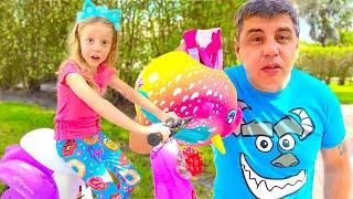Nastya tập đi xe đạp cùng bố! Video hữu ích cho trẻ