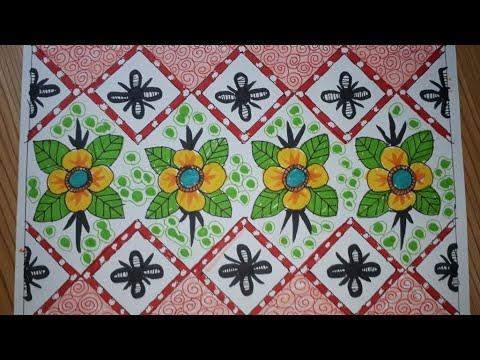 Download Menggambar Batik Bunga dengan mudah #020
