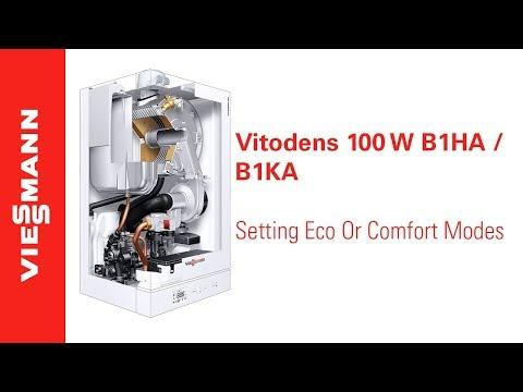 How to set the Eco or Comfort modes on a Vitodens 100-W, B1HA / B1KA