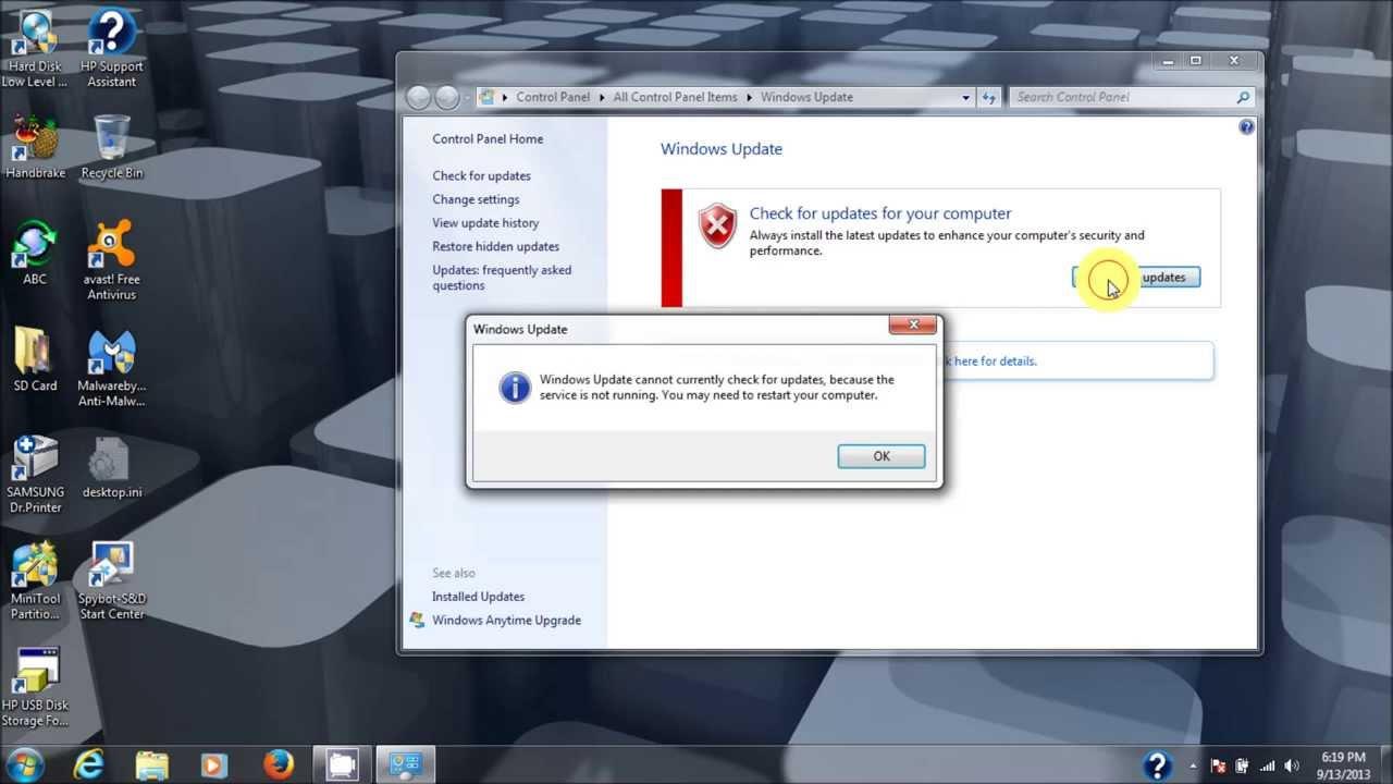 Update service missing windows 7