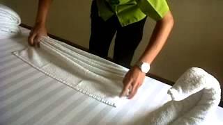 Tutorial swan shape towel part 1