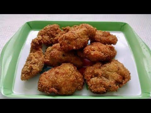 Chicken Pakora With Bread Crumbs. Fried Chicken Recipe.